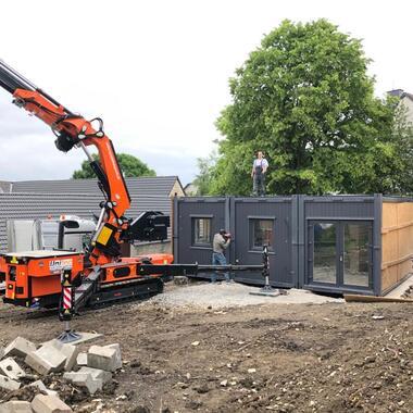Aufbau der Wohncontainer