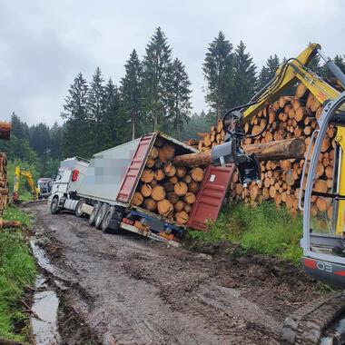 Mit Bagger und montiertem Mehrzweckgreifer zieht die Holzstämme aus dem Container