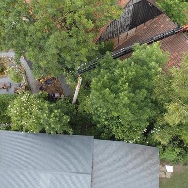 Der Mast steht inmitten von Häusern und Bäumen