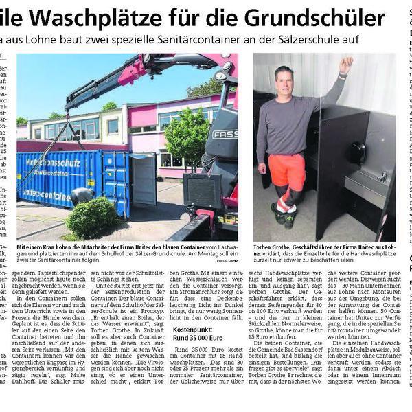 Bericht Soester Anzeiger hyCUBE Handhygiene Container